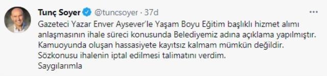 Tunç Soyer, Enver Aysever haberleriyle ilgili sessizliğini bozdu: İhalenin iptali için talimat verdim